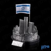 בניין עזריאלי מוקף בחומת ירושלים